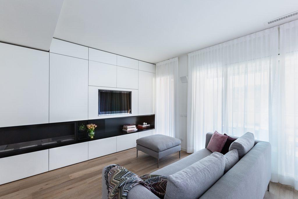 soggiorno casa nuova in costruzione a Milano
